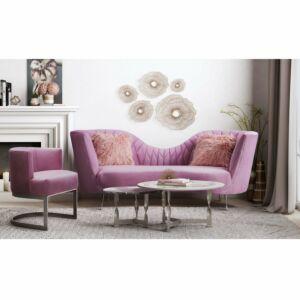 Eeva blush velvet sofa