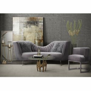 Eeva grey velvet sofa