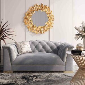 Ffarah grey velvet loveseat by inspire me! home decor