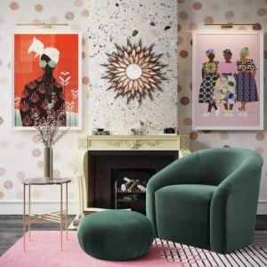 Bboboli forest green velvet chair + ottoman set