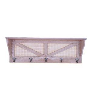 رف جداري من الخشب بتصميم أخاذ تعاليق عدد 5 لون خشبي وبني - 60x19x15سم