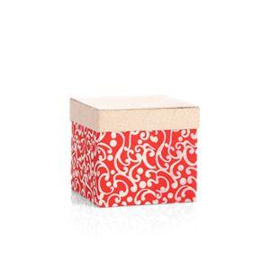 علبة هدايا مربعة من الكرتون المقوى مع رسومات أخاذة لون أحمر - 20x20سم - 20
