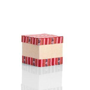 علبة هدايا مربعة من الكرتون المقوى مع رسومات أخاذة لون أحمر - 10x10سم - 023