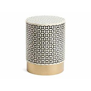طاولة ديلبي دائرية بقاعدة ذهبية - أسود وذهبي وأبيض