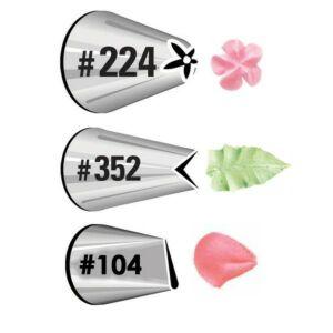 طقم أقماع تزيين رقم 104 بتلة، رقم 352 ورقة ورقم 224 زهرة، ويلتون-Wilton