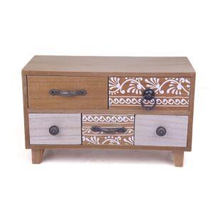 أدراج ديكور من الخشب عدد 5 بتصميم أخاذ متعدد الألوان-30x18x13سم - 295