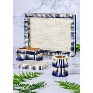 طقم مبخرة وصندوق بخور مع صينية تقديم شيلز - أزرق