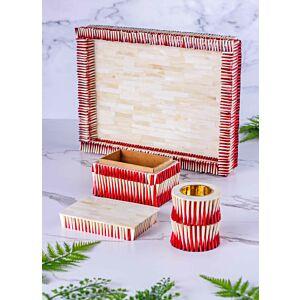 طقم مبخرة وصندوق بخور مع صينية تقديم شيلز - أحمر